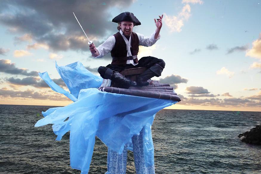 Pirat auf einem Floß
